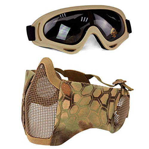 (Aoutacc Airsoft Protective Gear Set, Half Face Mesh Masks with Ear Protection and Goggles Set for CS/Hunting/Paintball/Shooting)