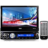 Single Din DVD Receiver Bluetooth - 7-Inch Car Stereo Touch Screen Headunit Receiver - Built-In Mic, Hands-Free Call Answering -AM/FM Radio CD/DVD Car Audio System - Pyle PLBT73