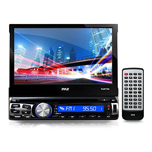 Single Din DVD Receiver Bluetooth – 7-Inch Car Stereo Touch Screen Headunit Receiver – Built-In Mic, Hands-Free Call Answering -AM/FM Radio CD/DVD Car Audio System – Pyle PLBT73