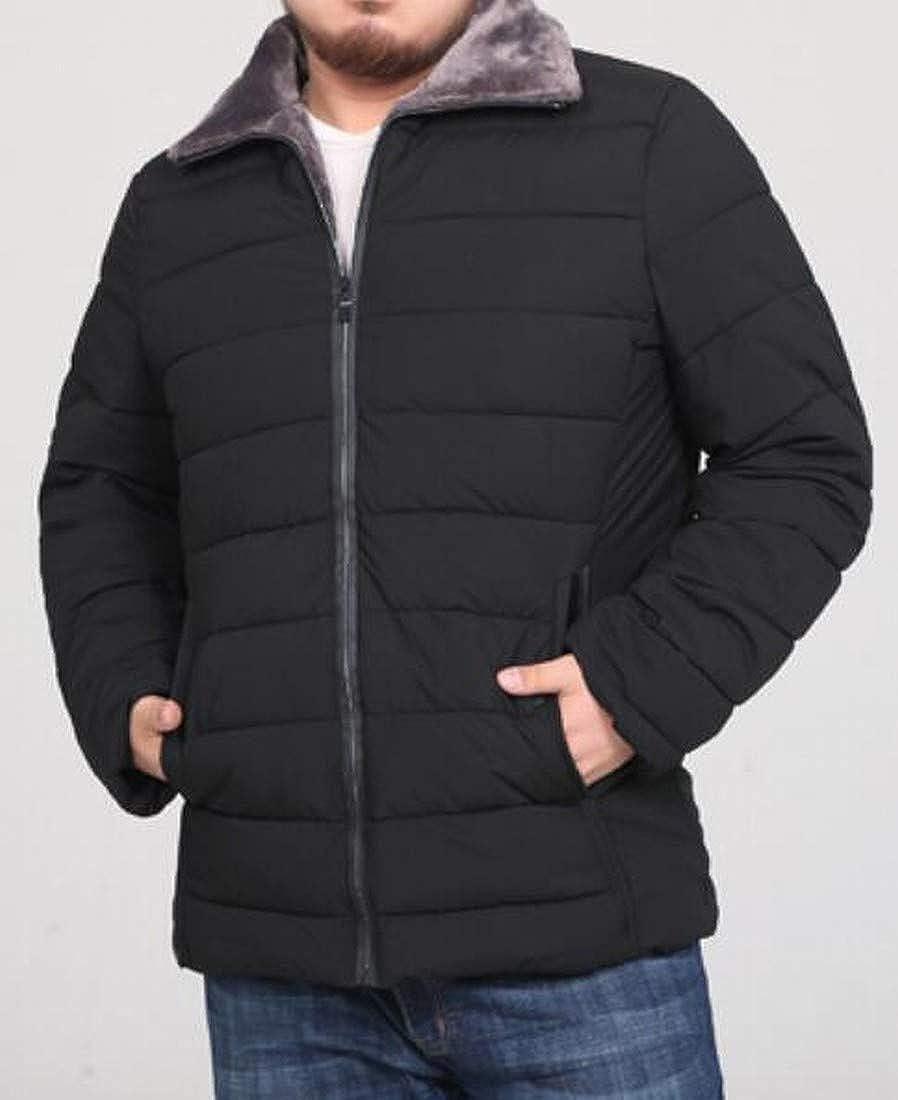 Jofemuho Mens Long Sleeve Loose Thermal Plus Size Lapel Down Coat Jacket Overcoat