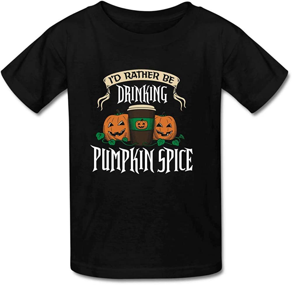Bart Perkin Boys Girls Kids Id Rather be Drinking Pumpkin Spice O-Neck Tshirt