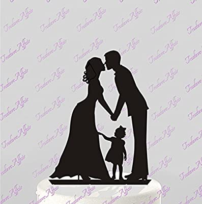 Wedding Cake Topper Silhouette Groom and Bride with little Girl - Family Acrylic Cake Topper [CT60g]