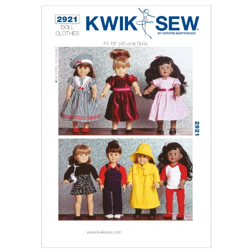 (KWIK-SEW PATTERNS Kwik Sew K2921 Dolls Clothes Sewing Pattern, Size Fits 18-Inch Dolls)