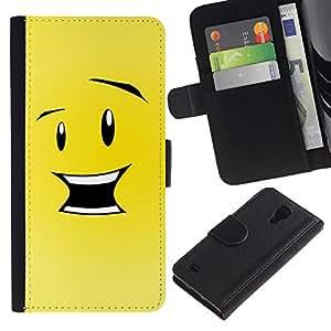 Ihec-Tech / Flip PU Cuero Cover Case para Samsung Galaxy S4 IV I9500 - Funny Happy Smiley