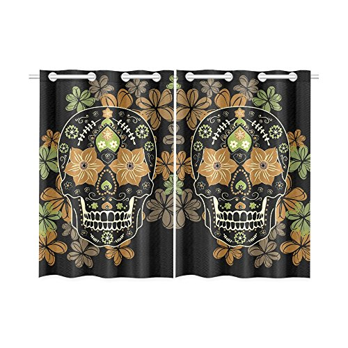 Unique Debora Customize Window Curtain Window Treatments for Kitchen Curtains 2 Pieces Styles with Design Day Of The Dead Colorful Skull With (Day Of The Dead Curtains)