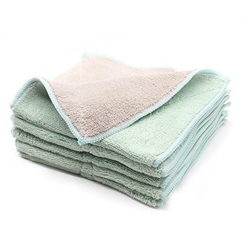 (Shinyjoy 5 Pack Microfiber Dish Towels Household Kitchen Towels for Cleaning Kitchen/Car/Glasses/Furniture Soft Dish Cloths Gray with)