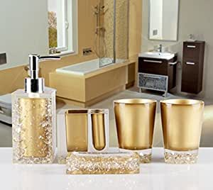 AMSS 5 Piece Stunning Bathroom Accessories Set in Crystal Like Acrylic Tumbler Dispenser Soap Dish Cups ,Gold