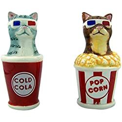 Pacific Giftware Movie Theater 3D Glasses Cats Salt and Pepper Shaker Set, 4 Inch