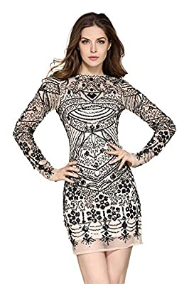 VVMCURVE Women's Mesh Sequin Embroidery Slim Long Sleeve Sexy Costume Party Club Dress