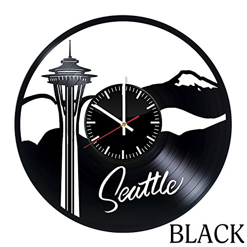 Vinyl Record Store - Welcome Dzen Store Seattle Vinyl Record Wall Clock - Get unique kitchen wall decor - Gift ideas for girls and boys – City Travel Unique Art Design