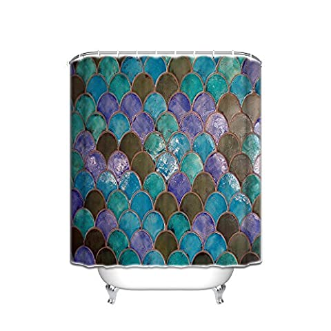 Fish Scales Corlorful Shower Curtain Decoration Mildew Waterproof Polyester Fabric Bathroom Shower Curtain