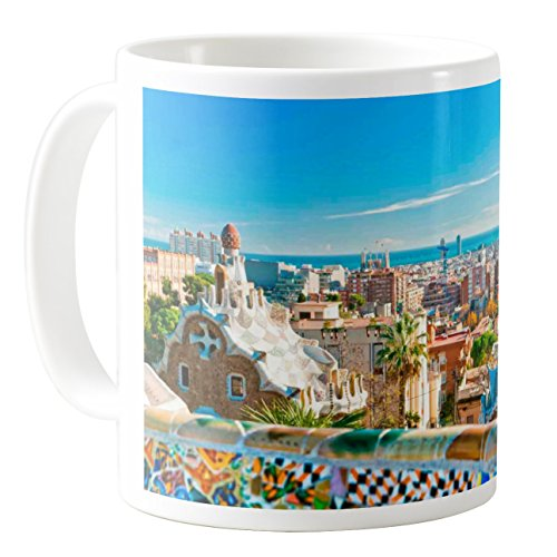 AquaSakura - Parc Guell Barcelona Spain - 11oz Ceramic Coffee Mug Tea Cup by AquaSakura