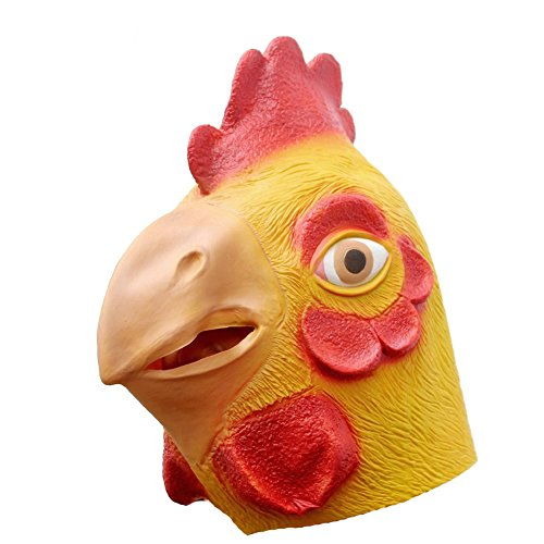 Queenshiny Latex Animal Head Mask Halloween Cosplay Party Costume Fancy Dress (One size, Yellow (Chicken Head Mask)