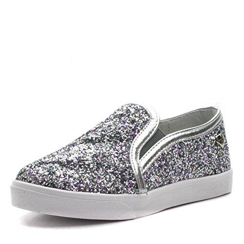 SMATT Step2wo Slipon Shoe for Girls in Silver Glitter >     > Slip-on chaussures pour les filles en paillettes argent