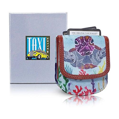 (TAXI WALLET Sea Turtle Small Folding VEGAN Minimalist Card Coin Front Pocket Wallet for Men & Women)