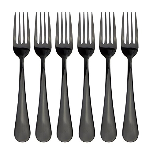 18/0 Flatware Black Titanium Coated Stainless Steel Dinner Fork Dessert Fork Set of 6 Pieces Cutlery Set Dinnerware Black Dinner Fork