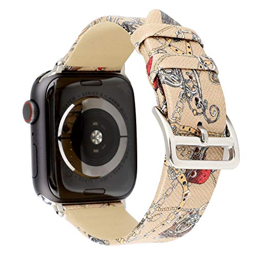 Floral Genuine Leather Band Compatible with Apple Watch 4 40mm,38mm Series 3/2/1,Wristwatch Strap Belt for iwatch Women's Khaki Bracelet Replacement. (Khaki-38/40mm)
