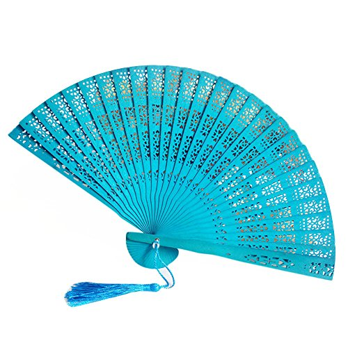 Fan-Ling Chinese Style Wooden Fragrant Carved Bamboo Folding Fan,Hand Held Fan as Dance Party Wedding Decor (I) ()