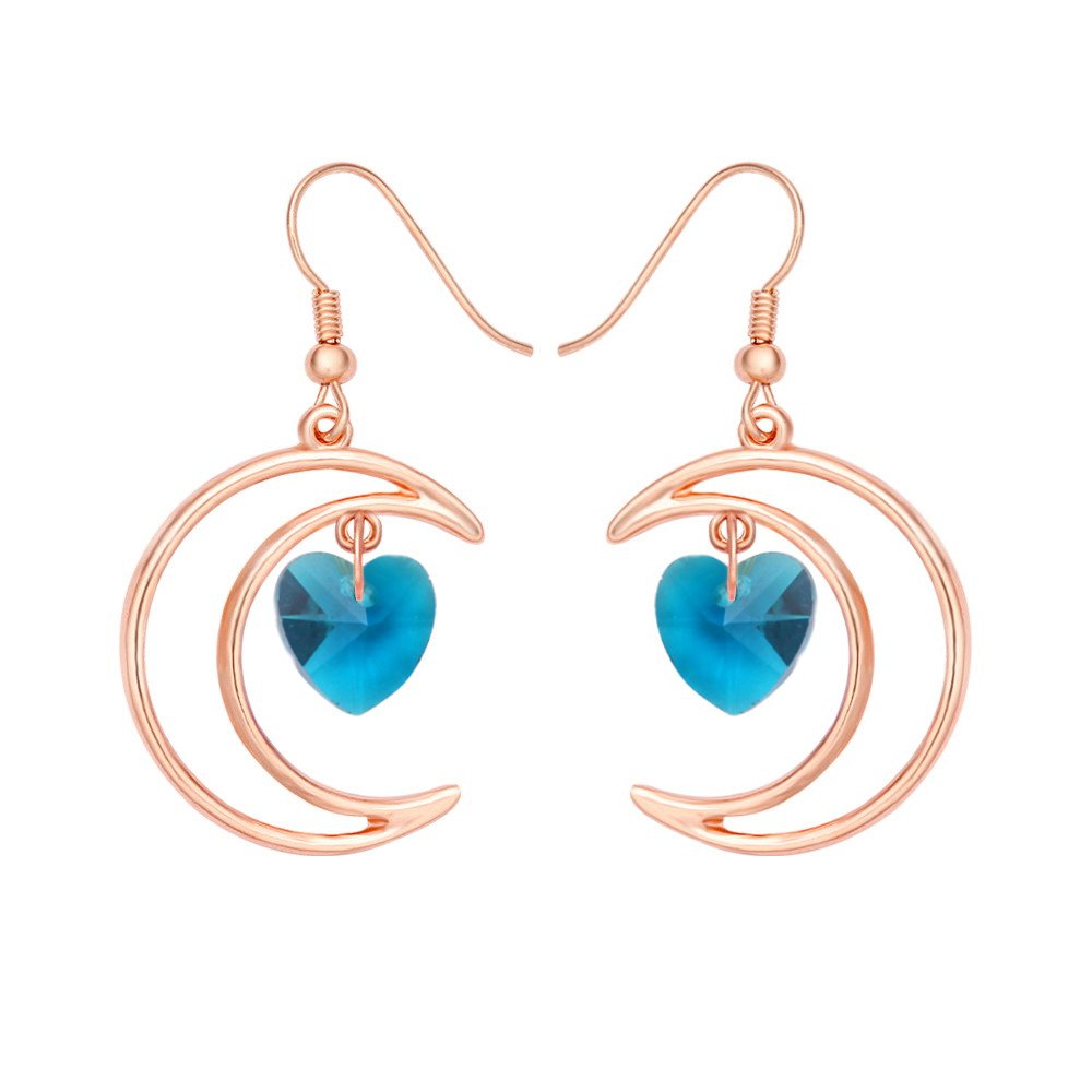 SENFAI Irish Crescent Half Moon Love Crystal Heart 1 Pair Hook Dangle Earrings 4 Color tone Rose Gold(Blue 2)