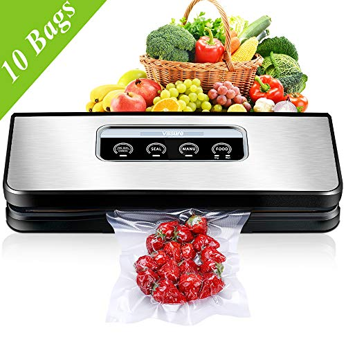 Vacuum Sealer Machine for Food Preservation, Villsure Food Savers Automatic Vacuum Sealing Machine with Hose Attachment and 10pcs Sous Vide Storage Bags, Fresh Up to 5x Longer(Stainless Steel Panel)