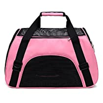 Pet Travel Bag Airline Approved Soft Sided Portable Single Shoulder Tote Carrier Bag for Travel Hiking and Car Seat(Pink,L)