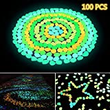 Solar Glowing Garden Pebbles, 100 Pcs Ohuhu Glow in the Dark Decorative Colorful Stone for Walkways & Decor, Luminous Stones for Plants Pot, Fish Tank etc