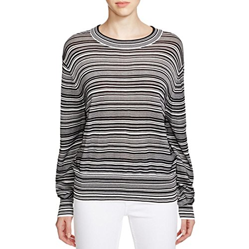 DKNY Women's Ribbed Striped Pullover Sweater Black Small