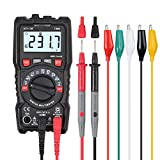 CAMWAY Digital Multimeter 4000 Count TRMS Auto Range Multimeter AC/DC Voltage/Current Resistance Diode Continuity LCD Display with Backlight & 10PCS Test Lead Set with Alligator Clips