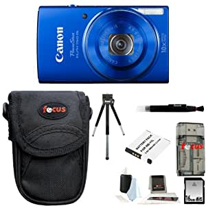 Canon PowerShot ELPH 150 IS Digital Camera (Blue) + 16GB Memory Card + All in One High Speed Card Reader + Standard Medium Digital Camera Case + Accessory Kit
