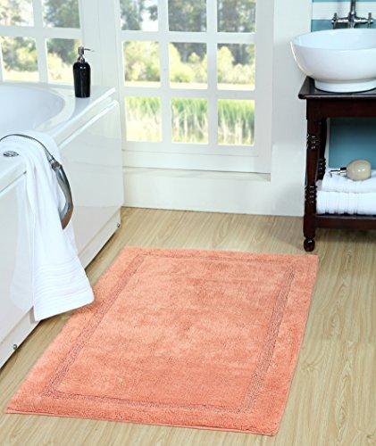 Saffron Fabs Regency Bath Rug Cotton, 50 Inch x 30 Inch, Coral