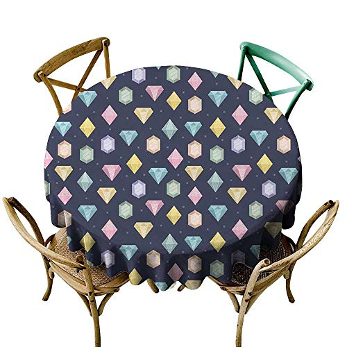 Luunins Round Tablecloth Vinyl Colorful,Graphic Gemstones with Different Shapes Trillion Drop and Marquise Cut Pattern,Multicolor D70,for Accent Table