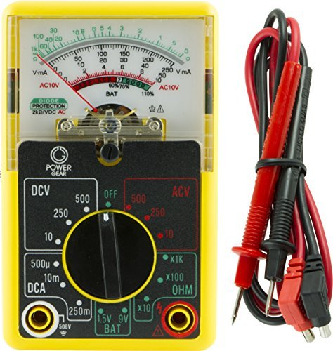 Power Gear Multimeter, Analog 14 Range 6-Function Non-Recording, Yellow 50952 by Power Gear
