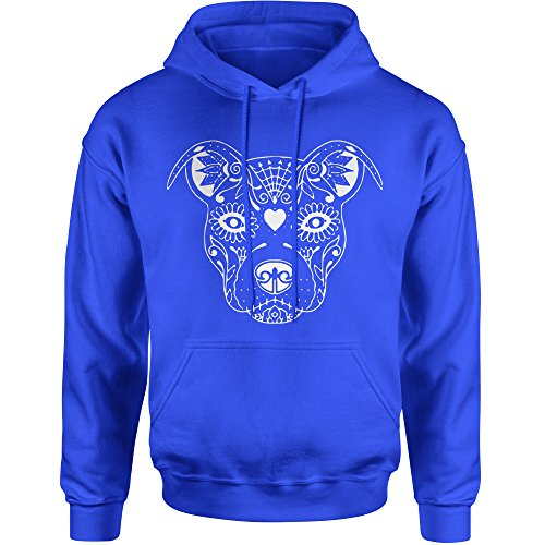 Expression Tees Hoodie Pitbull Sugar Skull Day of The Dead Adult Medium Royal Blue