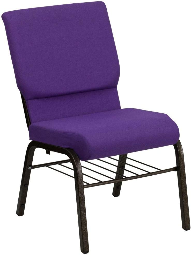 Flash Furniture HERCULES Series 18.5''W Church Chair in Purple Fabric with Book Rack - Gold Vein Frame