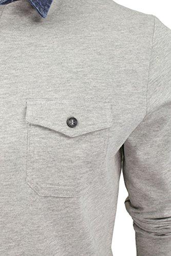 Mens Maniche lunghe Polo T-shirt da Coraggioso Anima con il collare Denim (Grigio chiaro) L
