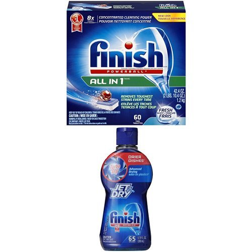 Finish Powerball Tabs Dishwasher Detergent Tablets, Fresh Scent, 60 Count & Finish Jet Dry Turbo Dry Rinse Aid, Dishwasher Drying Agent, 6.76 Ounce