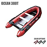 Seamax Ocean380T 12.5 Feet Commercial Grade Inflatable Boat, 5 Pontoon Chambers, Aluminum Floor, V Bottom, Max Support 25HP Motor, Coast Guard Standard Reflective Tapes, Multi-Purpose