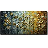 V-inspire Art, 20X40 Inch Gold Daisy Oil Paintings on Canvas Budding Flowers Art 100% Hand-Painted Abstract Artwork Floral Wall Art For livingroom Bedroom Dinning Room Decorative Pictures Home Decor