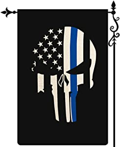 Coskaka Thin Blue Line Homissor Punisher Skull Garden Flag,Black White and Blue Stripe American Police Flag Vertical Double Sided Burlap Yard Lawn Outdoor Decor 12.5x18Inch