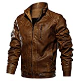 FONMA Men's Autumn Winter Casual Outwear Long Sleeve Top Stand Zipper Leather Jacket Brown