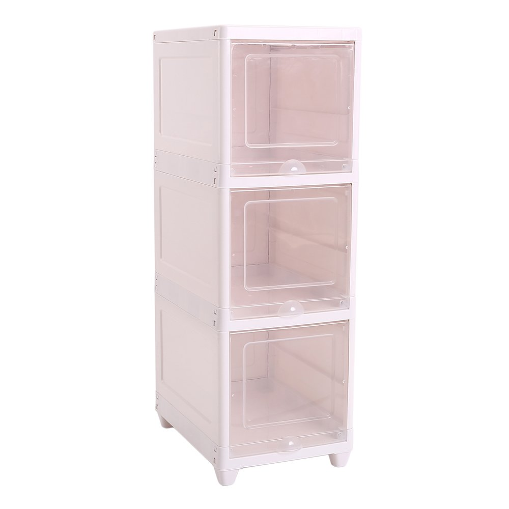 Okdeals 3-layer Creamy-White Bathroom Floor Waterproof Storage Cabinet Living Room Organizer Shelf,3 Transparent Magnetic Retractable Door,11.8''(L)×15.55''(W)×34.84''(H)