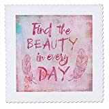 3dRose Andrea Haase Inspirational Typography - Watercolor Typography Find The Beauty In Every Day - 16x16 inch quilt square (qs_271232_6)