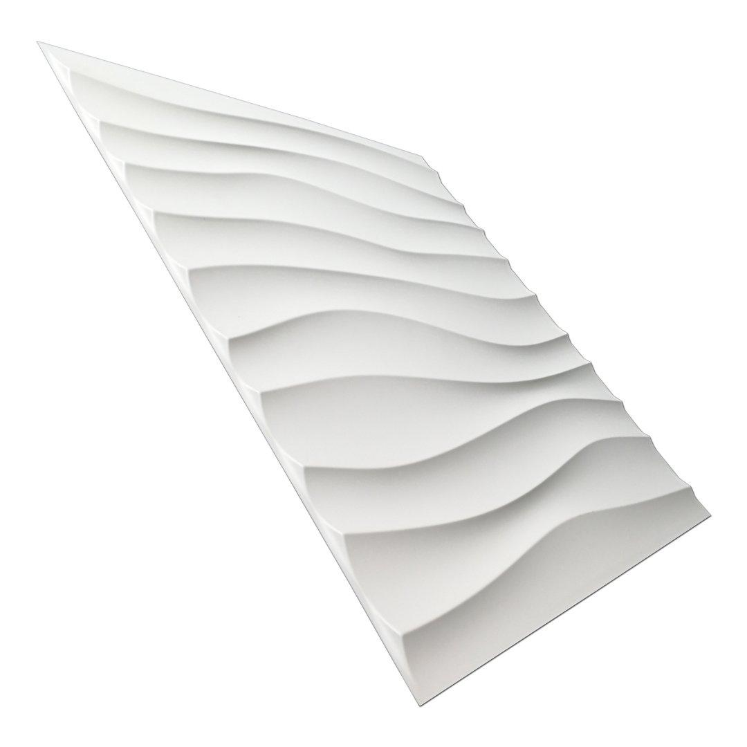 Art3d Plastic 3D Wall Panel PVC Wave Wall Design, White, 19.7'' x 19.7'' (12 Pack)