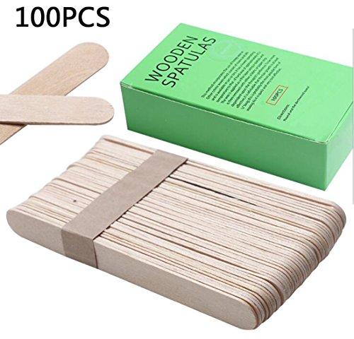 "1Box 100PCS 5.9""/15cm Wooden Spatulas Hair Removal Mask Stick Apply Wax Rod For Ice Cream Salon Applicator Mask Spatulas Salon Applicator"