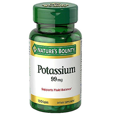 Nature's Bounty Potassium Gluconate 99mg, 100 Caplets (Pack of 6)