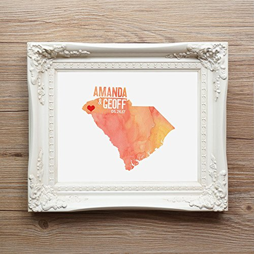 Custom South Carolina or ANY State or Country Wedding Art Print Decor - gift for couple or anniversary - watercolor - Alabama Online Usa South