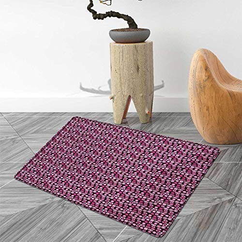 Abstract Door Mat Rug Oval Figures Vibrant Color Palette Modern Cubism Inspired Geometric Bath Mat 3D Digital Printing Mat 4'x6' Magenta Pale Pink Black ()