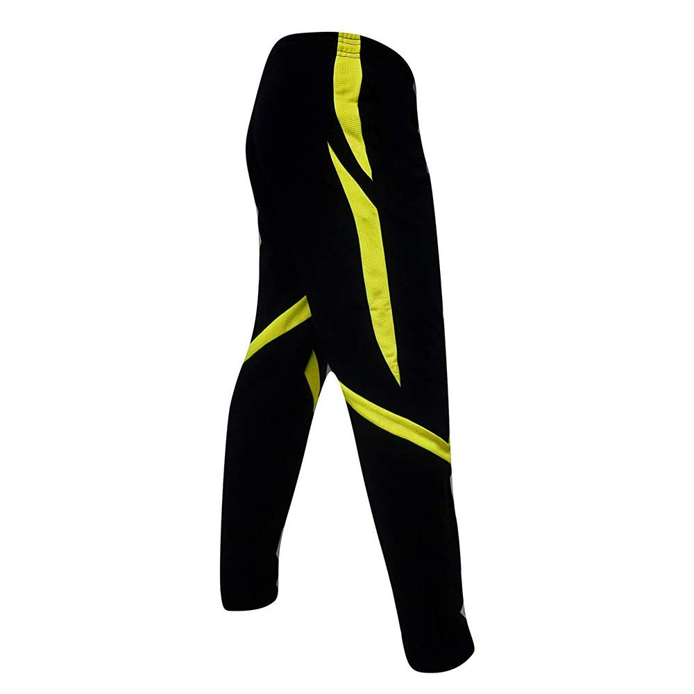 HTHJSCO Men's Athletic Skinny Track Pants Open Bottom (Yellow, XXXL) by HTHJSCO