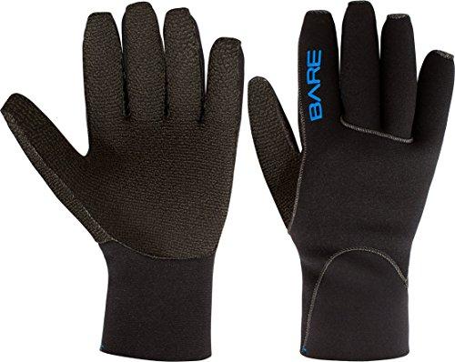 - Bare Unisex 3mm Five Finger K-Palm Scuba Diving Gloves (Large, Black)