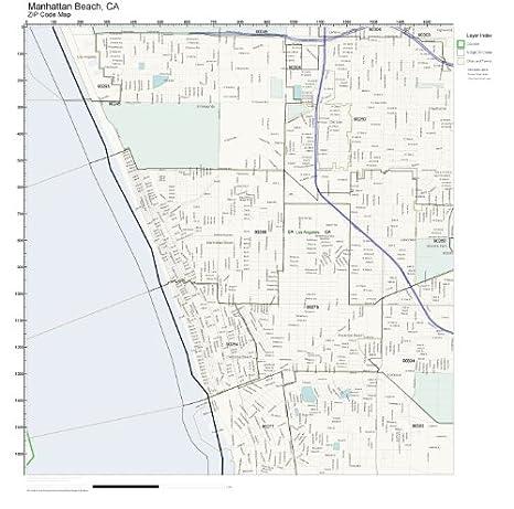 Amazon Com Zip Code Wall Map Of Manhattan Beach Ca Zip Code Map